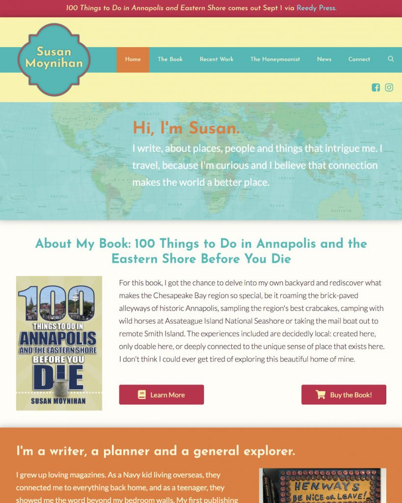 homepage of website susanmoynihan.com